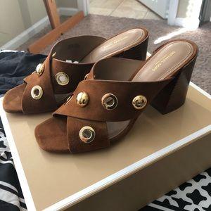 Michael Kors Collection suede brown heels